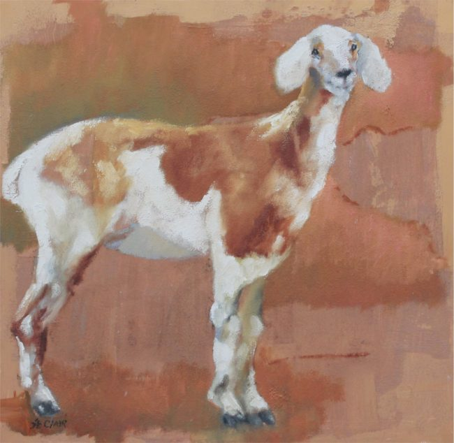 Linda St. Clair Painting Larry Oil on Board