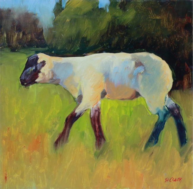 Linda St. Clair Painting Little Lamb Oil on Canvas