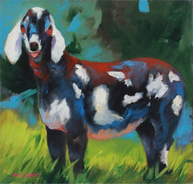Linda St. Clair Painting Spotted Goat Oil on Canvas