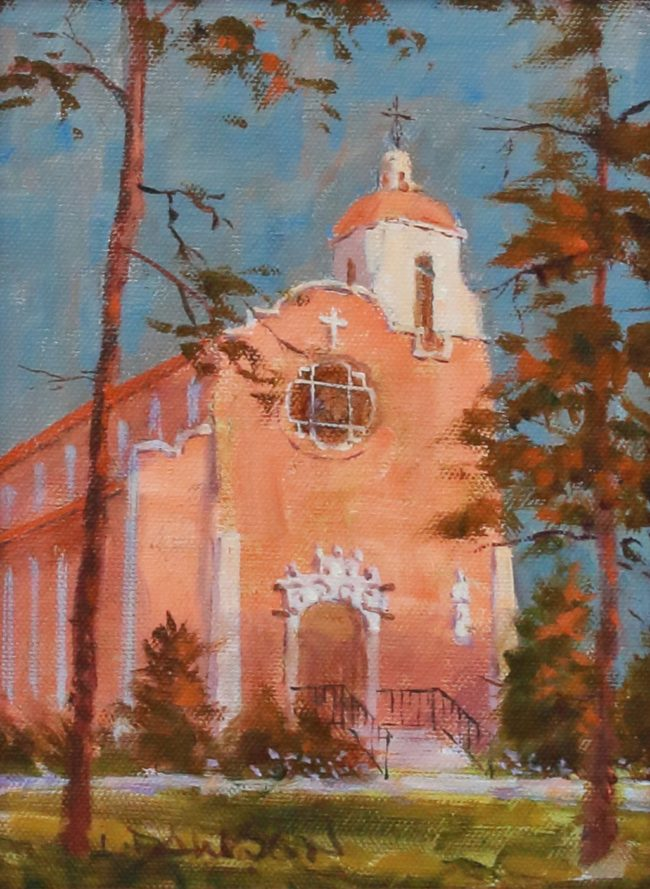 Lindsay Dawson Painting Dawn Light on the Chapel Oil on Canvas