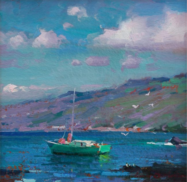 Ovanes Berberian Painting Green Sailboat Oil on Canvas