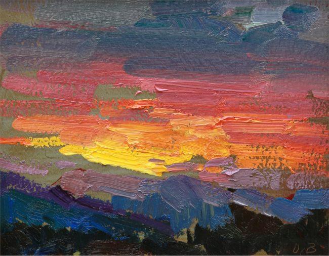 Ovanes Berberian Painting Late Sunset Oil on Panel
