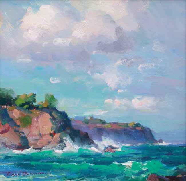 Ovanes Berberian Painting Stormy Pacific Keokea (Hawaii) Oil on Canvas