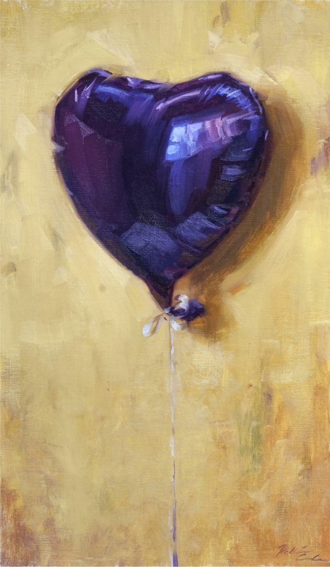 Robin Cole Painting Purple Heart Oil on Panel