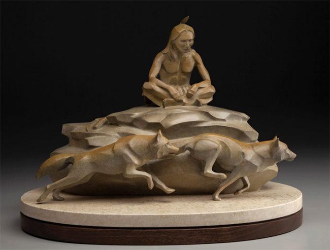 Rosetta Sculpture Spirit Brothers Bronze
