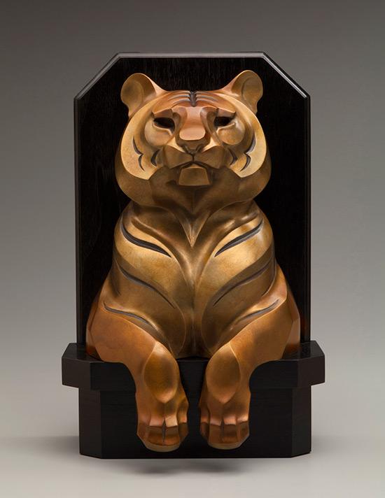 Rosetta Sculpture Tiger Totem Bronze