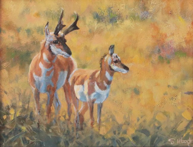 Sarah Woods Painting Pronghorn Family Oil on Board