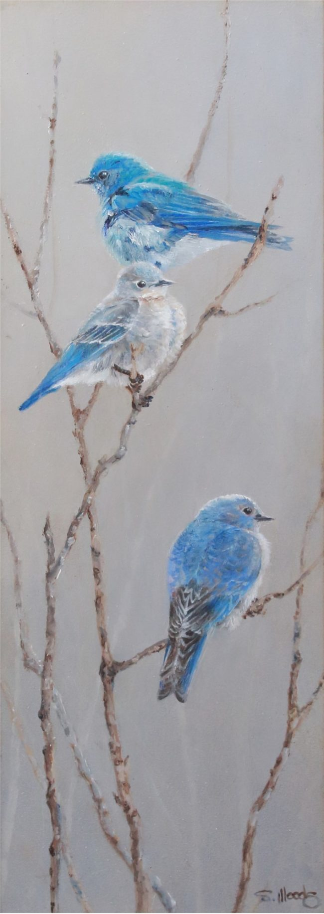 Sarah Woods Painting Tangled Up in Blue Oil on Board