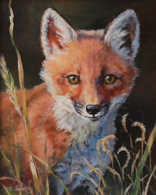 Sarah Woods Painting Watchful Oil on Board