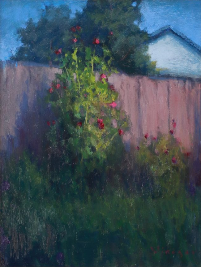 Seth Winegar Painting Along the Fence Oil on Panel