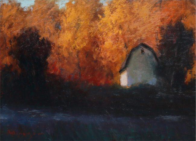 Seth Winegar Painting Back Lit Trees Oil on Panel