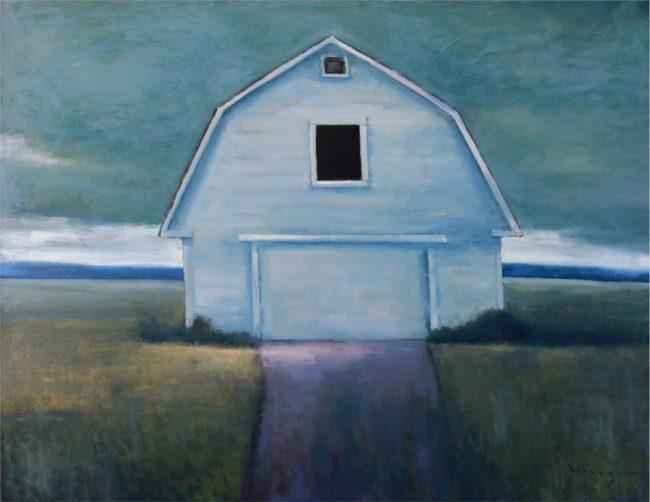 Seth Winegar Painting Grey Sky Barn Oil on Canvas