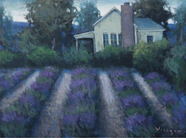 Seth Winegar Painting Lavender Garden Oil on Panel