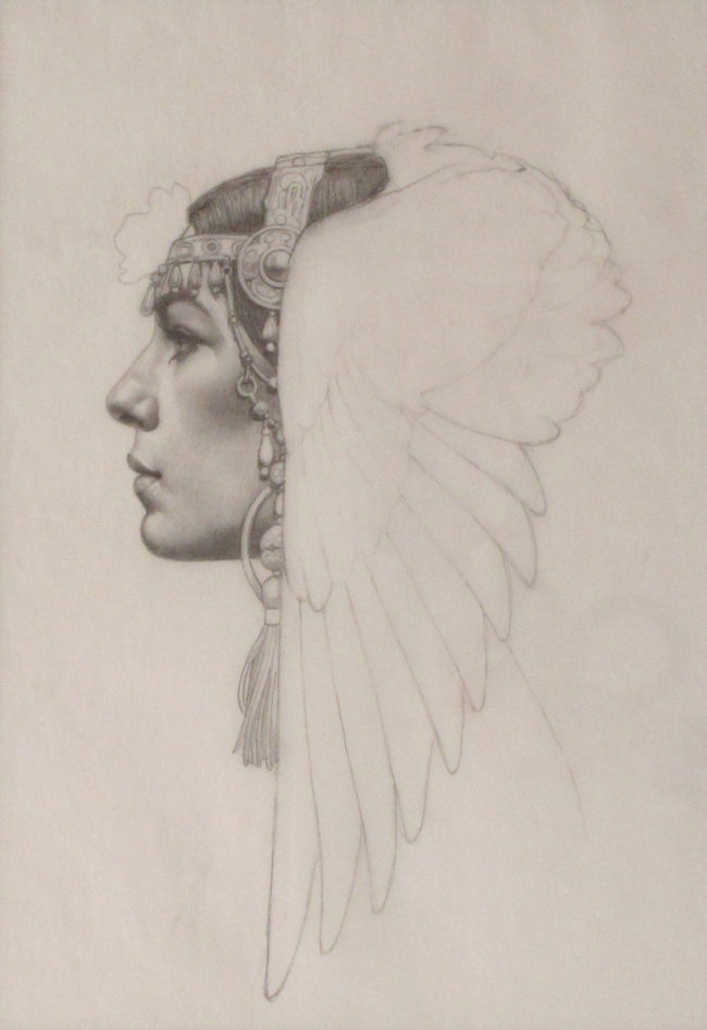 Thomas Blackshear Works on Paper Winged Crown Pencil on Vellum