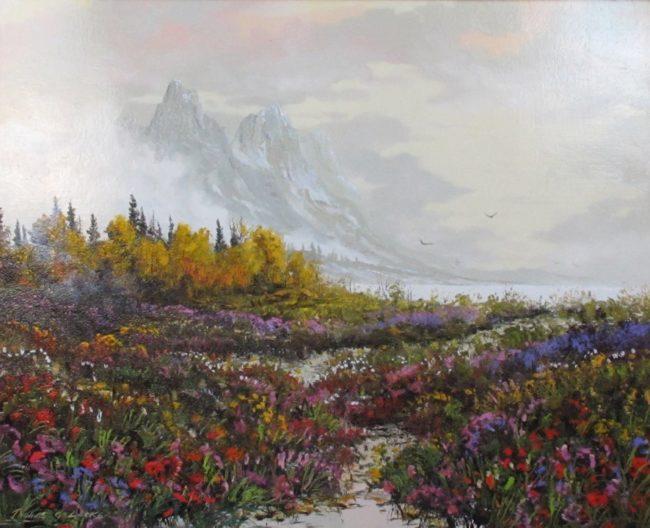 Thomas DeDecker Painting Aspen Mist - Colorado Oil on Board