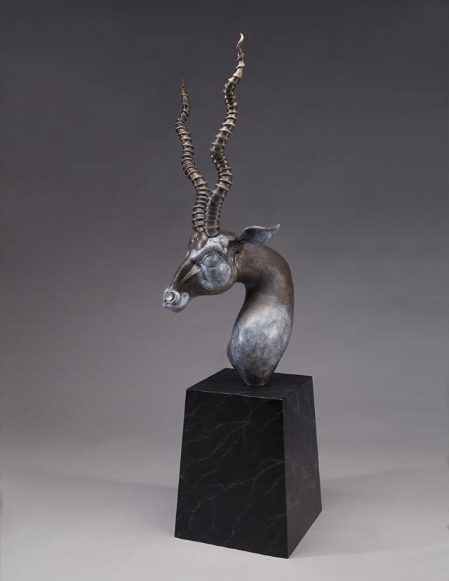 Timothy Nimmo Sculpture Blackbuck Bust I Bronze