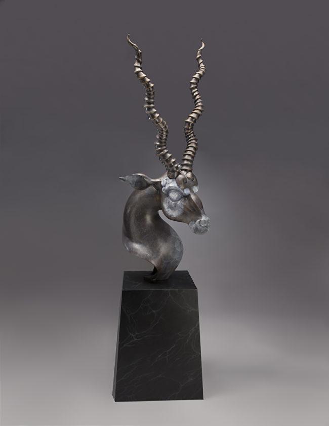 Timothy Nimmo Sculpture Blackbuck Bust II Bronze