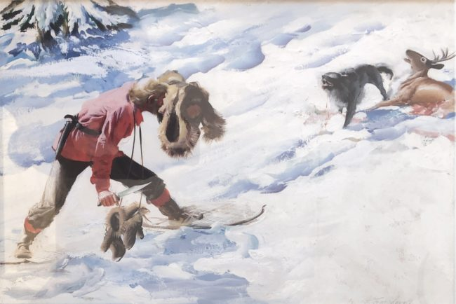 Tom Lovell Painting Trapper's Morning Oil on Board