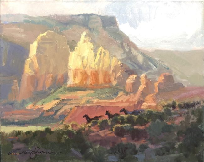 V.... Vaughan Painting Red Rocks Oil on Canvas