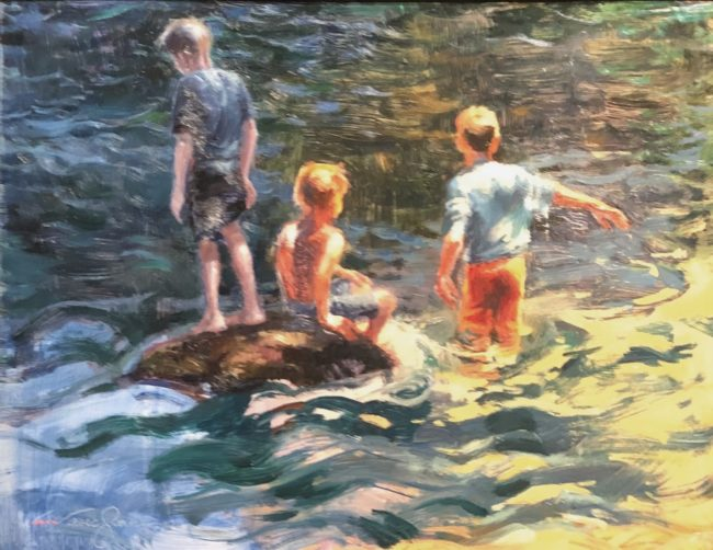 V.... Vaughan Painting River Boys Oil on Canvas