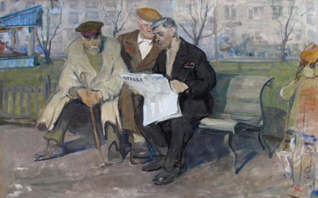 Vladimir Ilich Nekrasov Painting Pensioners Oil on Canvas