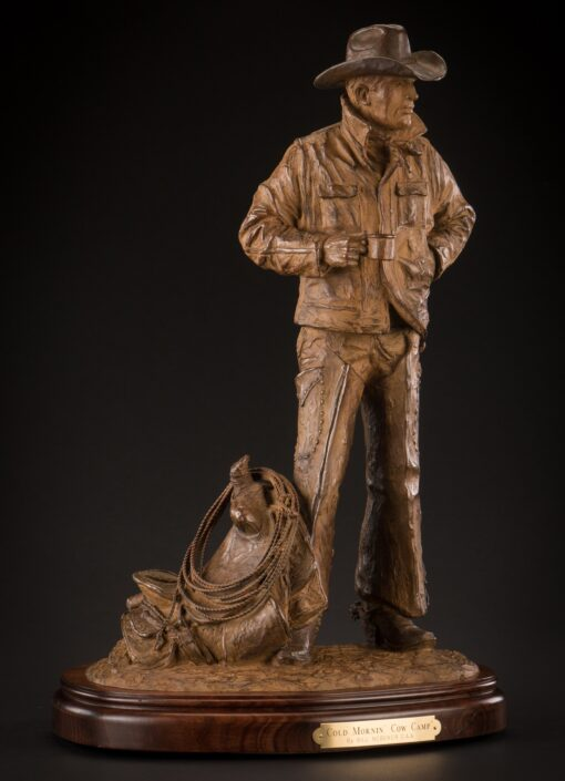 Bill Nebeker CA Sculpture Cold Mornin' Cow Camp Bronze