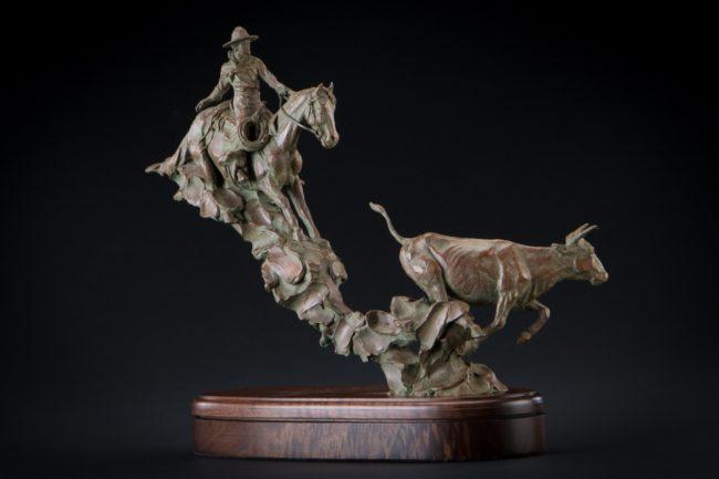 Curt Mattson Sculpture Catchin' A Quitter Bronze