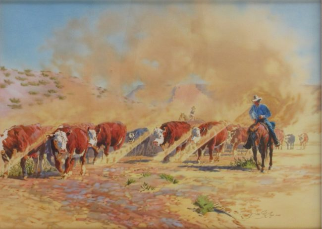 Dean St. Clair Painting Cattle Drive Watercolor