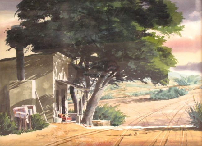 Dean St. Clair Painting Rural Scene Watercolor