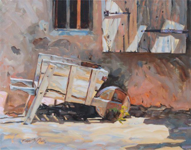 Dean St. Clair Painting Wheelbarrow Oil on Canvas