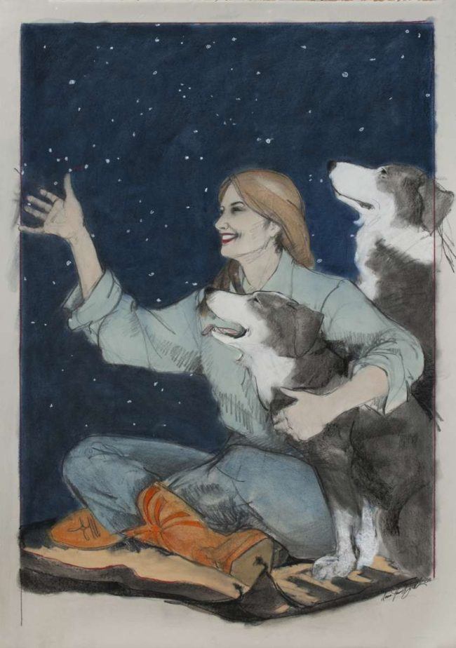 Donna Howell-Sickles Mixed Media Watching the Big Bear Mixed Media on Paper
