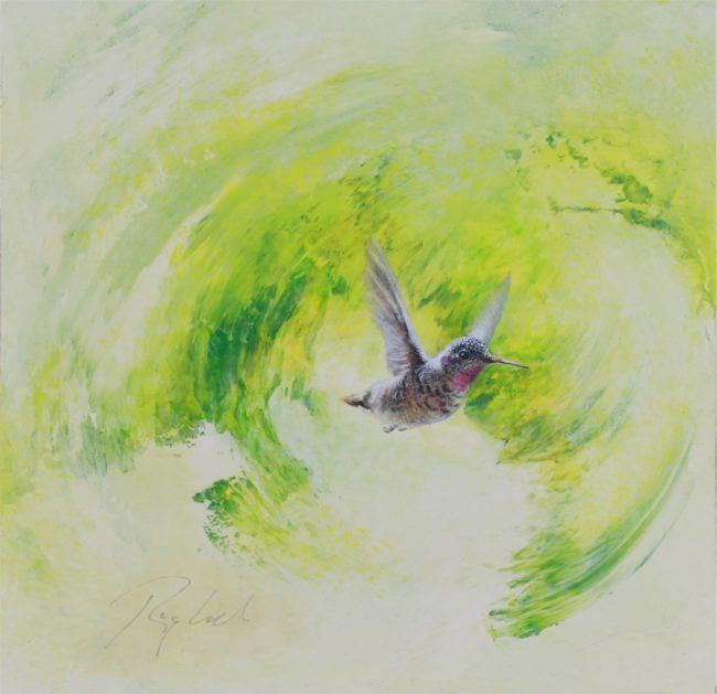 Greg Ragland Painting Green Swirl with Female Hummingbird Acrylic on Panel