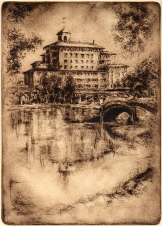 Kent Talmage-Bowers Printmaking The Bridge Etching