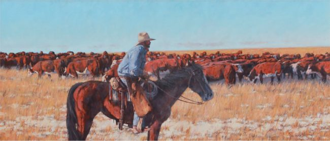 Nathan Solano Painting One Cold Day in the Saddle Oil on Canvas