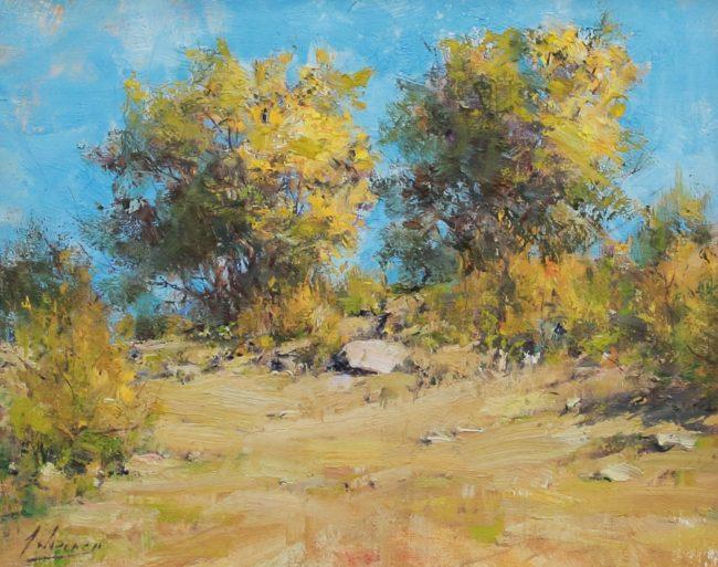 Robert Johnson Painting Autumn Cottonwoods Oil on Board
