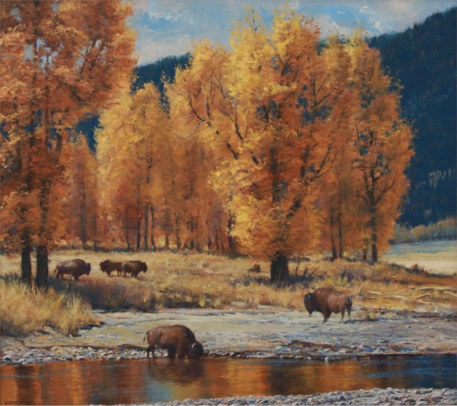 Robert Peters Painting Lamar Valley Gold Oil on Linen