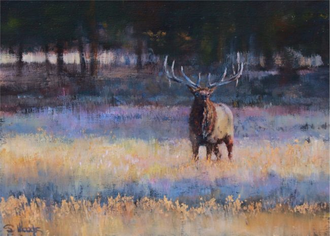 Sarah Woods Painting October Gold Oil on Board