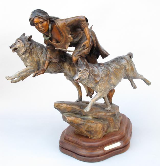 Susan Kliewer Sculpture Runs with Wolves Bronze