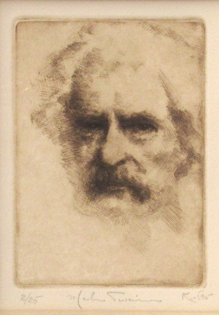 Kent Talmage-Bowers Printmaking Mark Twain Etching