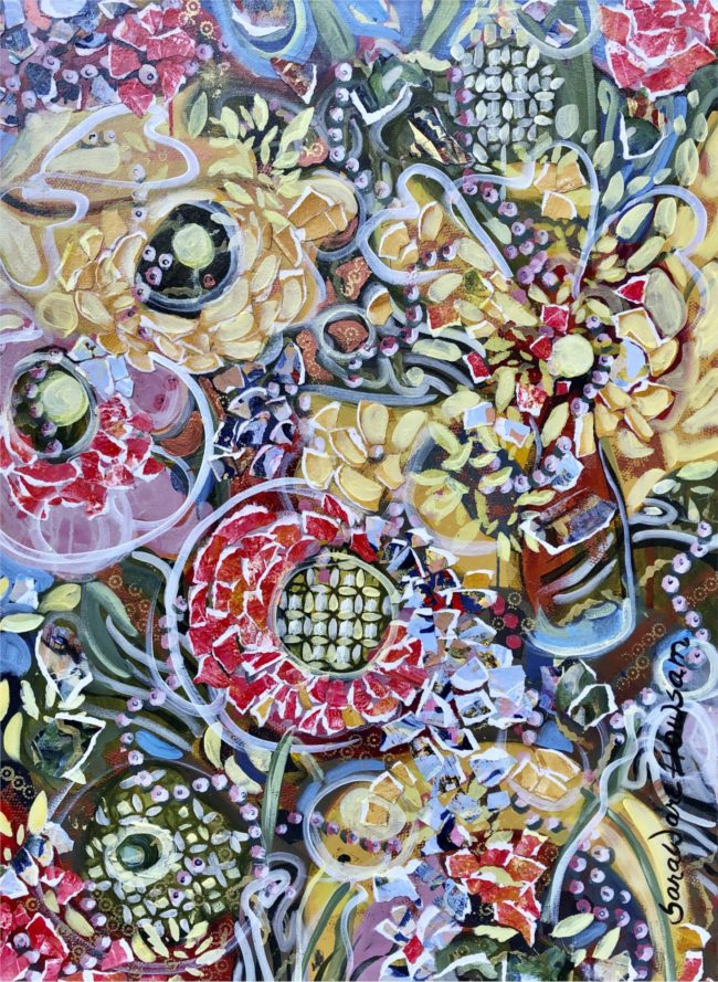Sara Ware Howsam Painting Searching for Joy in the Garden Acrylic Mixed Media on Canvas