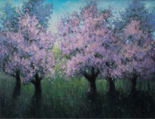 Seth Winegar Painting Blossoms Oil on Panel