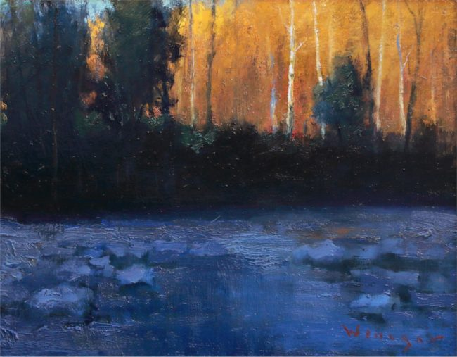 Seth Winegar Painting River in Shadows Oil on Panel