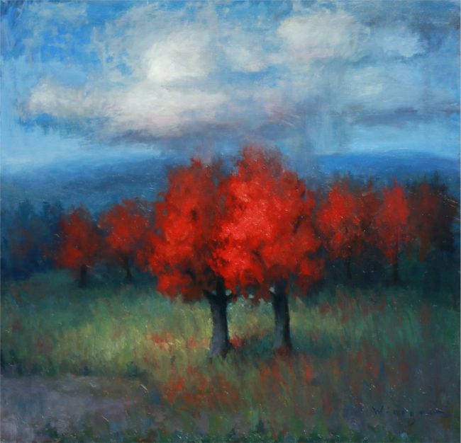 Seth Winegar Painting Trees in Red Oil on Panel
