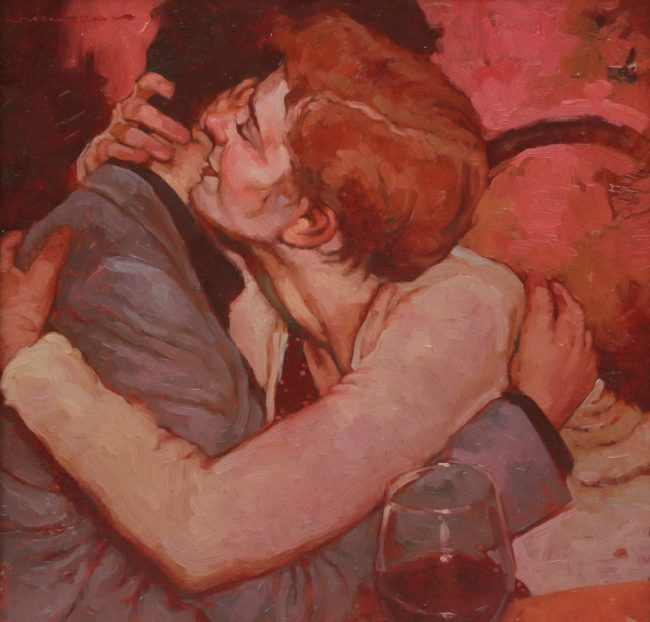 Joseph Lorusso Painting Getting Closer Oil on Panel