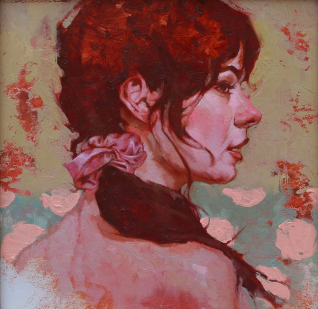 Joseph Lorusso Painting Girl in Profile Oil on Panel