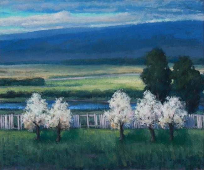 Seth Winegar Painting Along The Fence Line Oil on Panel