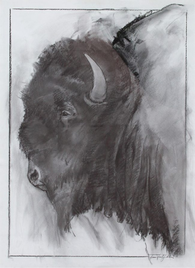 Donna Howell-Sickles Mixed Media Head of the Herd Charcoal on Paper