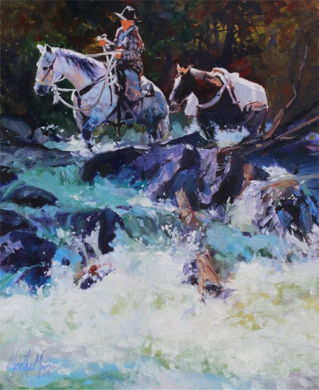 Martha Mans Painting White Water Crossing Oil on Board