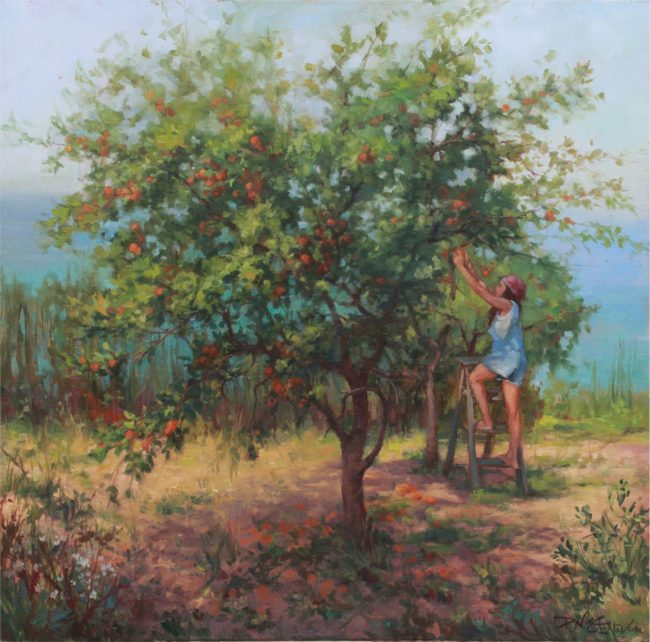 Patricia McGeeney Painting Backyard Orchard Oil on Linen