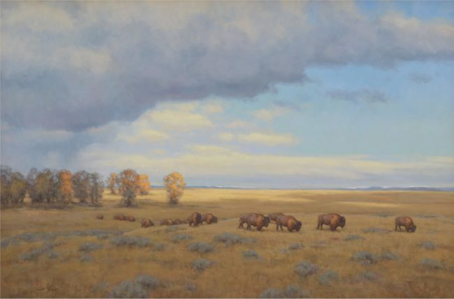 Scott Yeager Painting Where Buffalo Roam Oil on Canvas